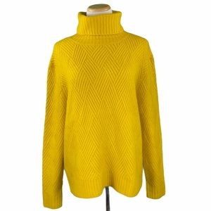ASOS Yellow Chunky Cable Knit Turtleneck Sweater